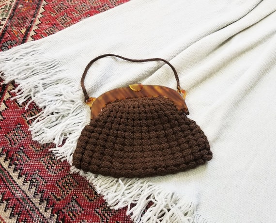 Vtg 40s Crochet + Lucite Handbag