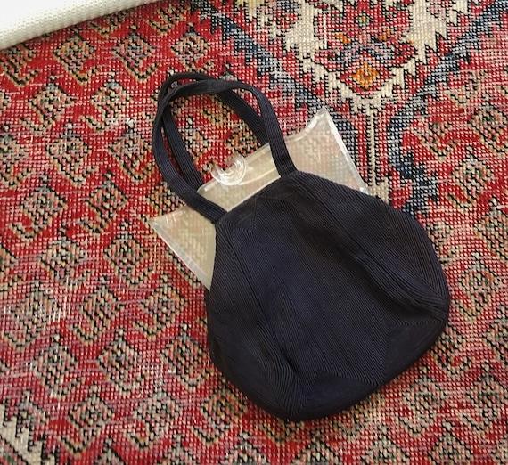 Vtg 40s Clear Lucite + Ribbed Crochet Handbag