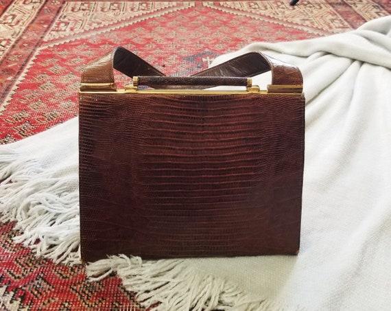 Vtg 40s 50s Snakeskin Hard Shell Handbag