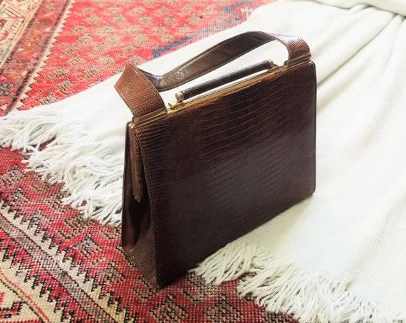 Vtg 40s 50s Snakeskin Hard Shell Handbag - image 2