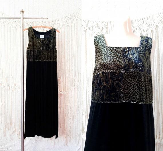 Vtg 90s Black Velvet Jumper Dress / petite L XL