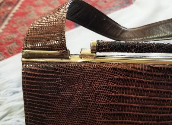 Vtg 40s 50s Snakeskin Hard Shell Handbag - image 7