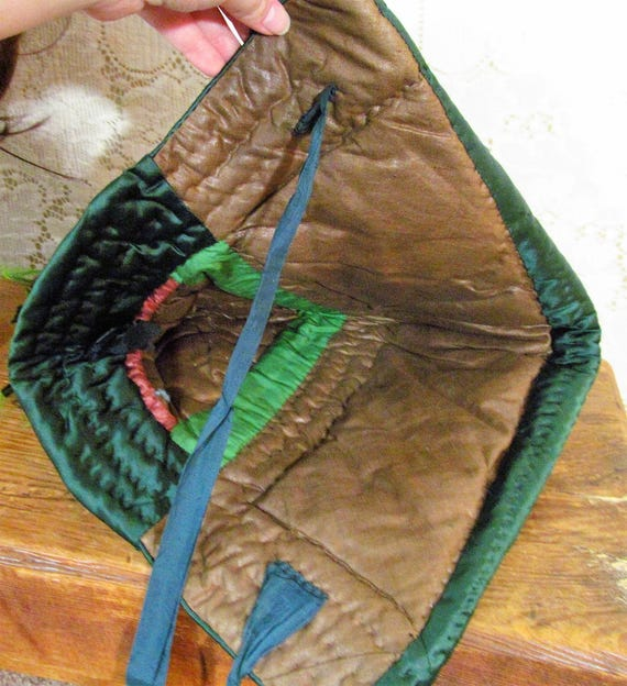 Antique 1840s Victorian Forest Green Quilted Silk… - image 5