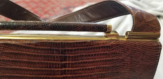 Vtg 40s 50s Snakeskin Hard Shell Handbag - image 6