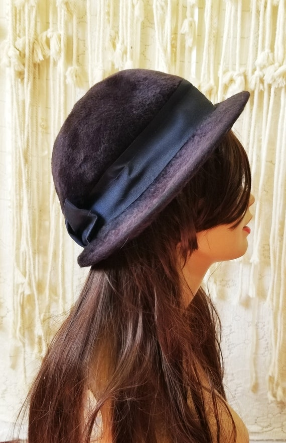 Antique 1910s / 1920s Slouchy Velvet Witchy Hat - image 4