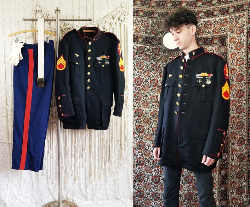 Vtg World War II Marine Corp Heavily Decorated Staff Sargent Dress Blues ||  size XL 42 x 42 ||
