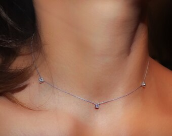 Diamond Necklace, Princess Cut Station Necklace