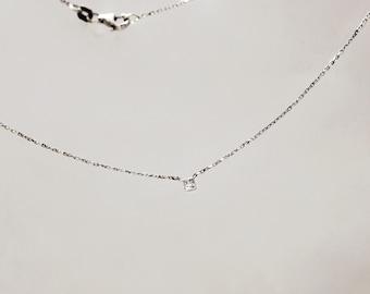 Sterling silver princess cut diamond necklace