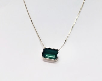1 Carat Natural Green Emerald 14k Gold Necklace