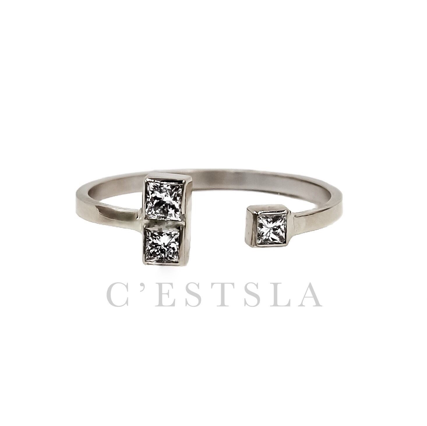 14k Gold Princess Cut Diamond Stacking Cuff Ring