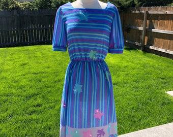 1980's Purple Stripe Summer Dress (Large)