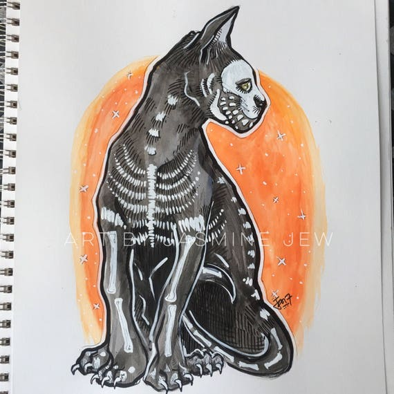 Skele Cat Print