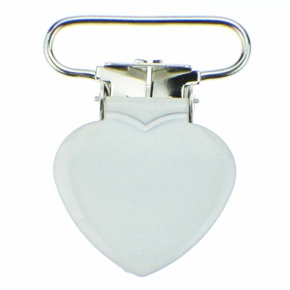 """5 Heart 3//4/"""" Pastel Blue Enamel Suspender Passy Binky Pacifier Mitten Clip"""