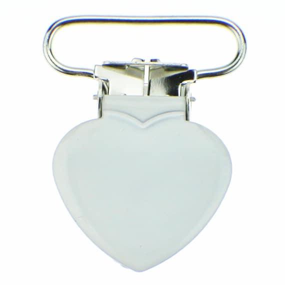 REDUCED 25 Heart 3//4 Inch White Enamel Suspender Passy Pacifier Mitten Clip