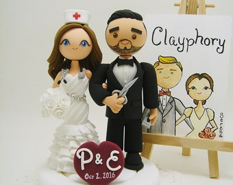 Barber and Nurse Custom wedding cake topper