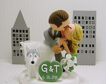 Romantic kissing couple with dog Wedding cake topper