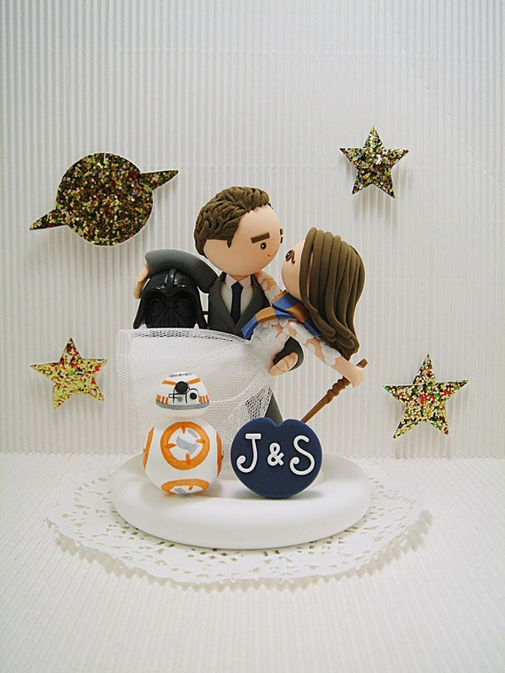 Star Wars And Harry Potter Theme Custom Wedding Cake Topper Bride And Groom Cake Topper Mr And Mrs Cake Topper