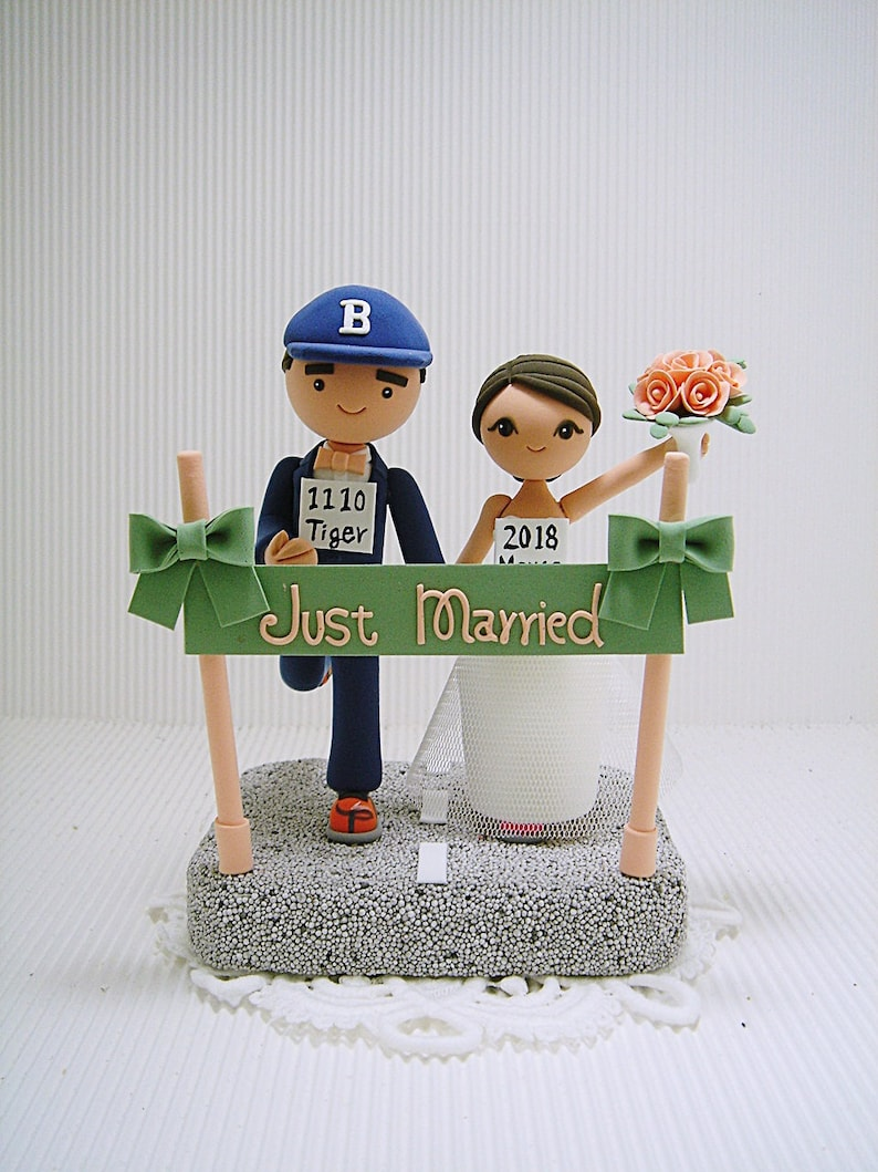 Fine Marathon Runners Theme Bride And Groom Running Handmade Custom Wedding Cake Topper Mr And Mrs Cake Topper Download Free Architecture Designs Scobabritishbridgeorg