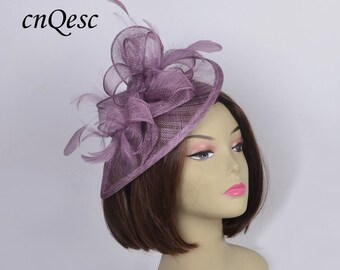 Exclusive Colour Plum Lavender Purple Teardrop Sinamay Fascinator W Feathers Ideal For Kentucky Derby Wedding Party Races Melbourne Cup