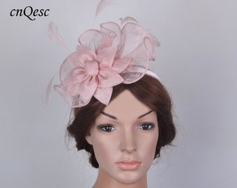 18f80751f783d Pale pink sinamay fascinator formal hat for Royal Ascot wedding kentucky  derby tea garden party.