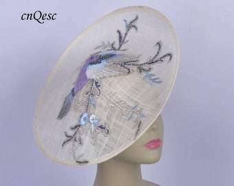 afce1c24 Chinoiserie ivory/blue/purple saucer sinamay hatinator Kentucky Derby hat  royal Ascot lace hat wedding fascinator w/flower&bird embroidery