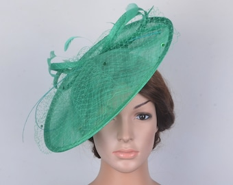 8af4f4de NEW Big saucer Green hatinator sinamay fascinator veiling Kentucky Derby hat  wedding hat bridal headpiece dress church hat