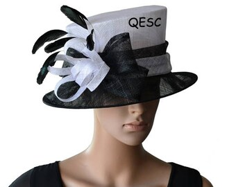 White/black Kentucky Derby sinamay hat for races,wedding,church,tea party