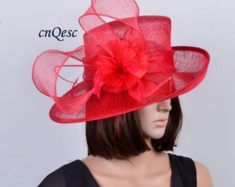 RED New Design for Kentucky Derby sinamay hat large dress church hat with  feathers sinamay loops 71f4f3fad4a