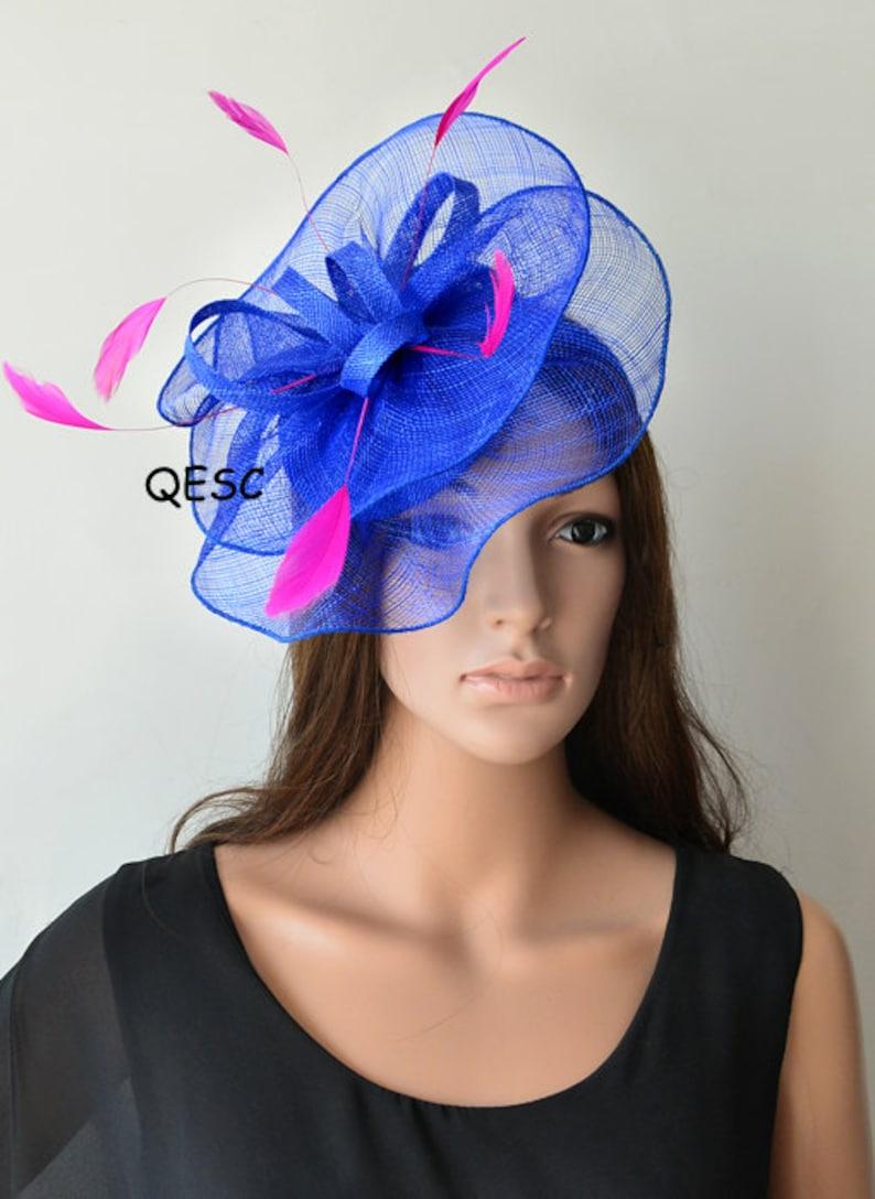 fbf30f0274496 Cobalt blue fascinator royal hot pink fuschia sinamay