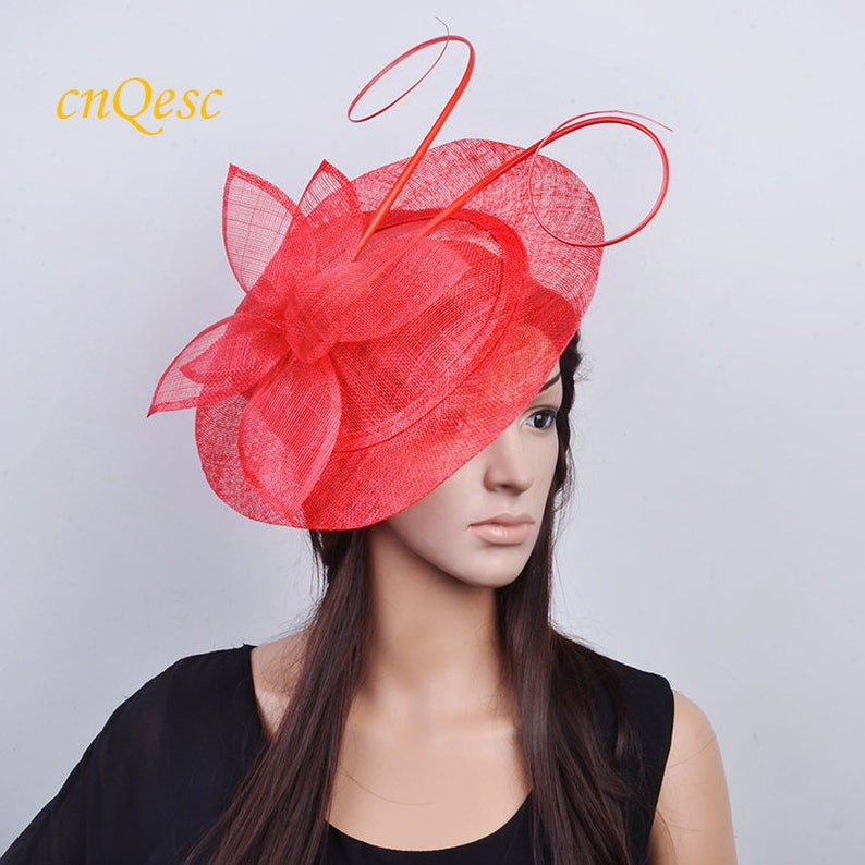 7c37f955bba49 Red fascinator BIG saucer Sinamay Fascinator Hat with ostrich