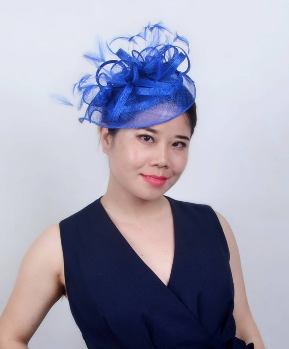 f2e6beaacb6 Royal blue fascinator Sinamay feather hat fascinator for