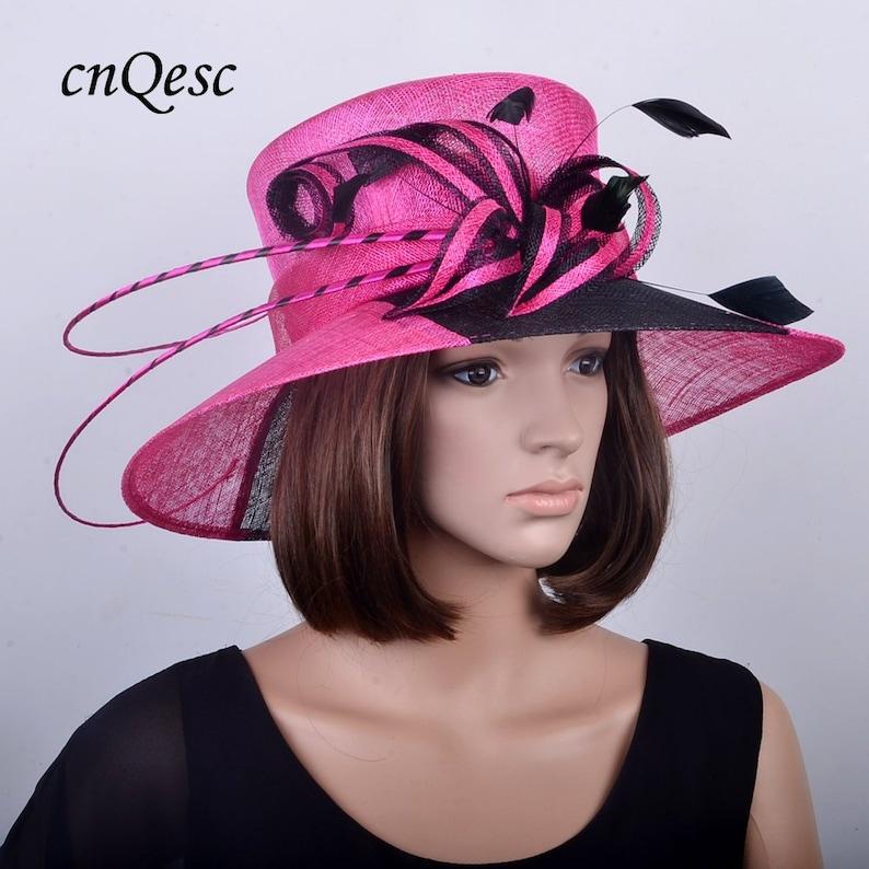 Fuchsia black Wide brim sinamay hat church hat wedding  38408a622f99