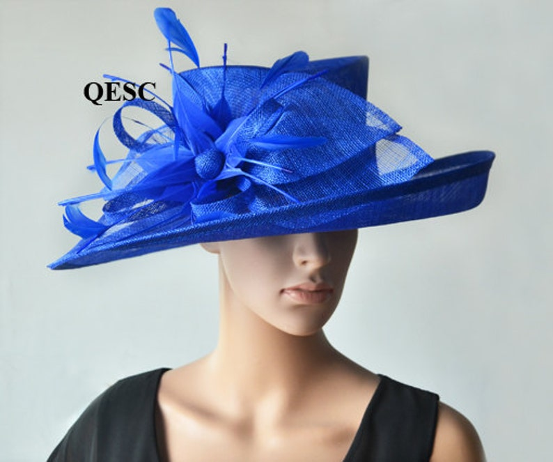 556ae82ce81 Cobalt blue hat large dress church sinamay hat fascinator with