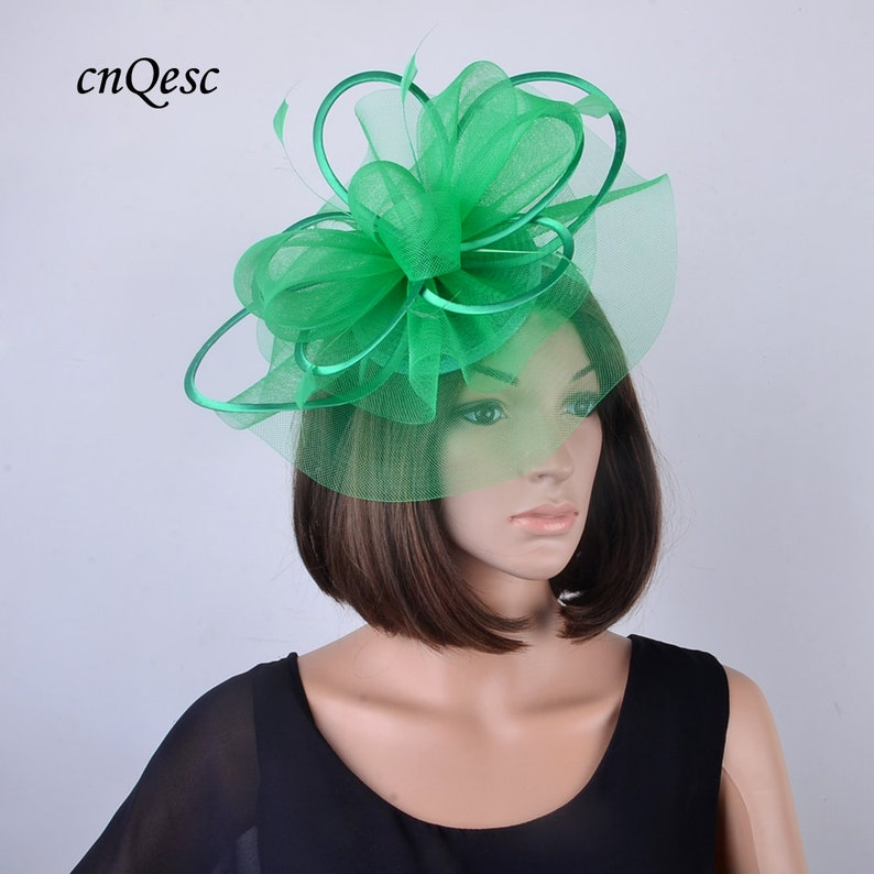 8534de0bddb 2019 new design Green crin Fascinator sinamay hat for Kentucky Derby