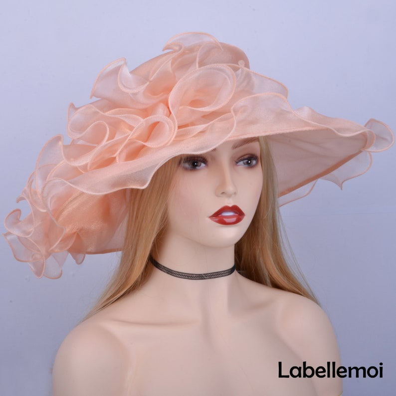Nude pink peach pastel pink Large brim Kentucky Derby hat Organza Church Hat for races,Royal Ascot,Wedding,party,church,Mother of the bride