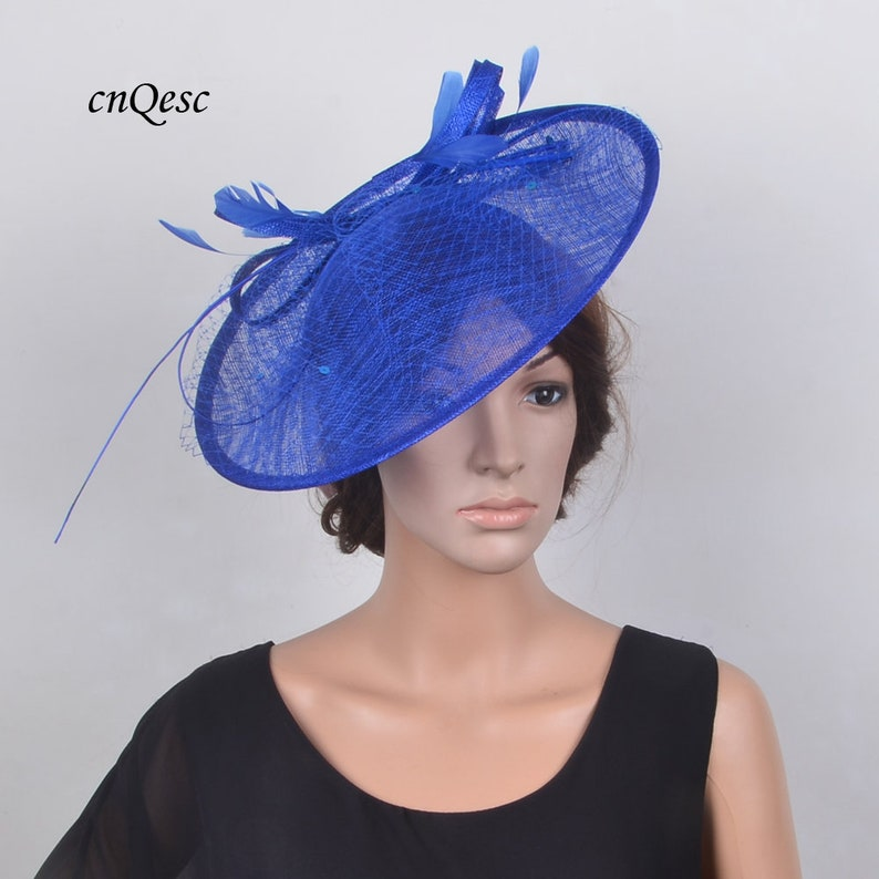 179c82cd786b9 Big Royal blue sinamay saucer fascinator veiling Kentucky