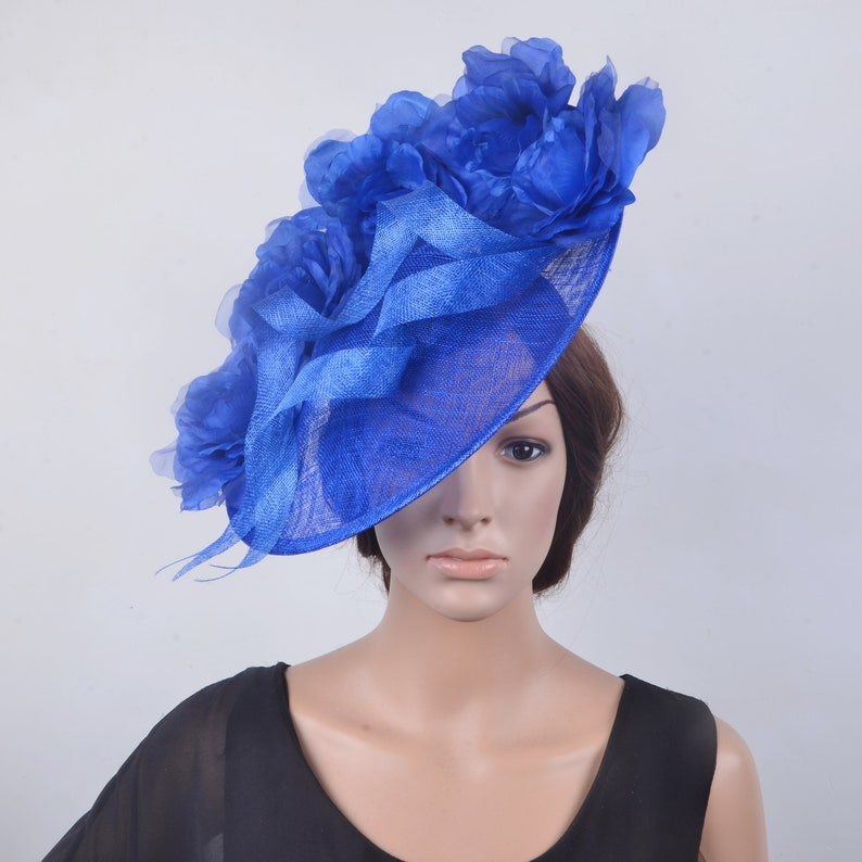 6c3391527c950 Royal blue Big saucer sinamay fascinator hat with silk
