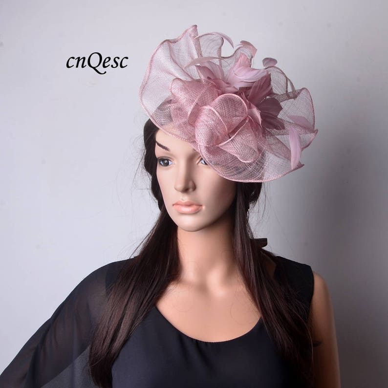 7001e5e4 New Heather pink Big sinamay fascinator with feathers flower | Etsy