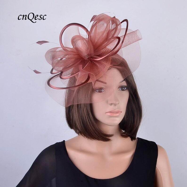 c62a98fd8c4 2018 new design fashion light coffee crin Wedding Fascinator
