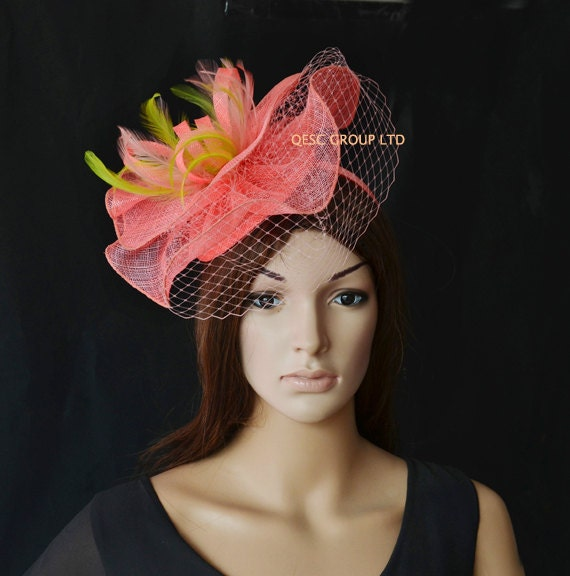 Coral Pink Green Sinamay Feather Fascinator Kentucky Derby