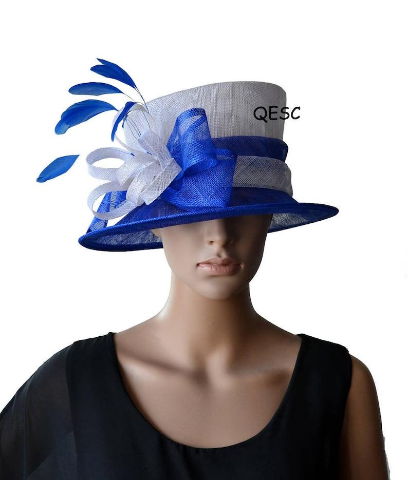 d2946f4483b Elegant White royal blue formal sinamay hat Kentucky Derby hat