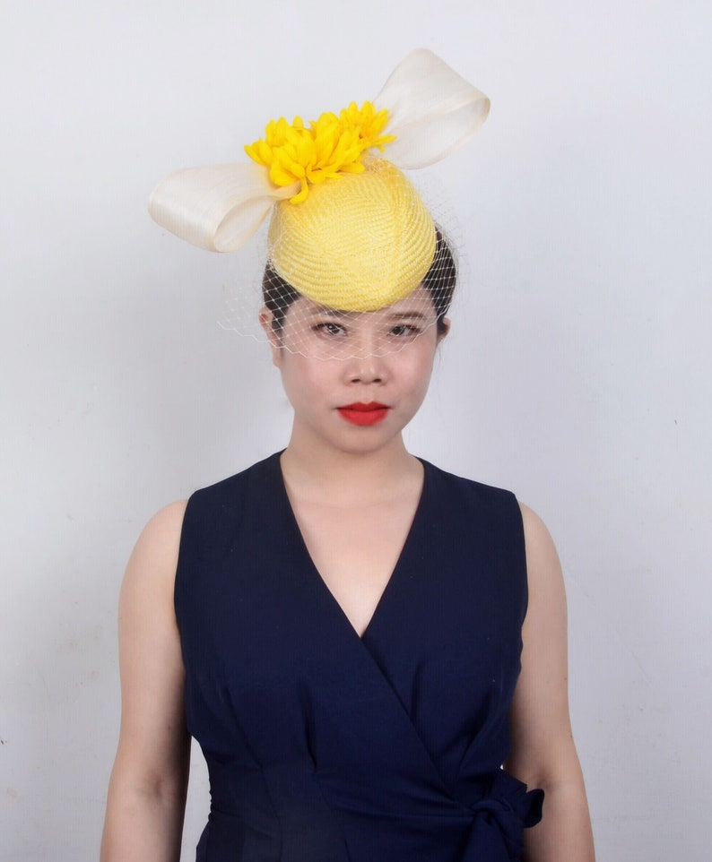ff2f9a5f80e7a 2019 one off designyellow cream buntal hostess hat Kentucky