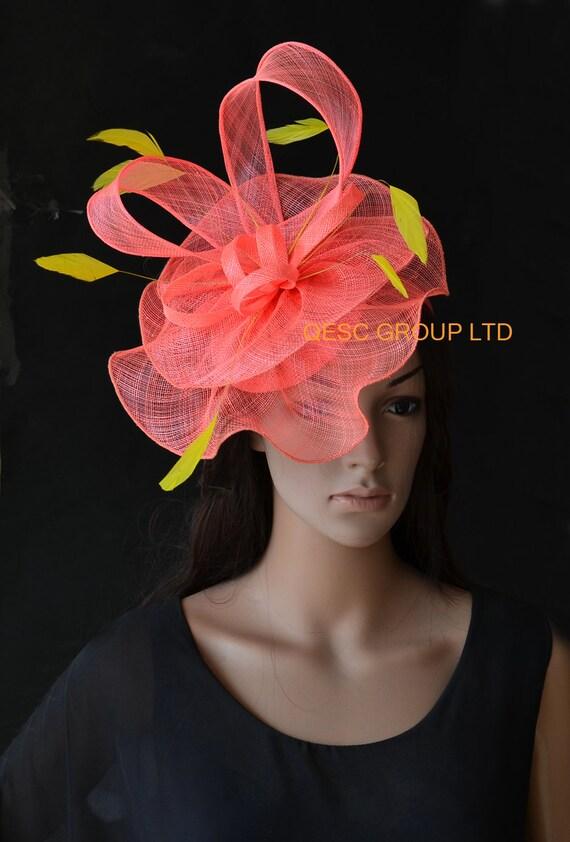 Coral pink Big sinamay fascinator Feather fascinator ideal  b0bd2958ef8
