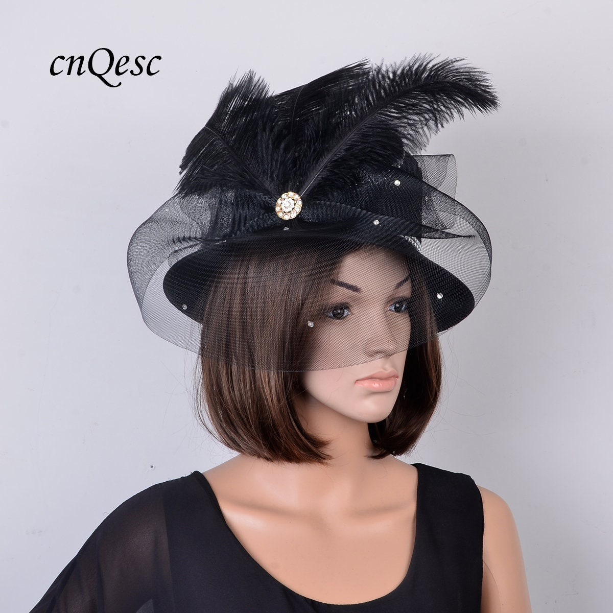 8cbef0c4a7dc8 Greg Bourdy Black And Taupe Wedding Hats