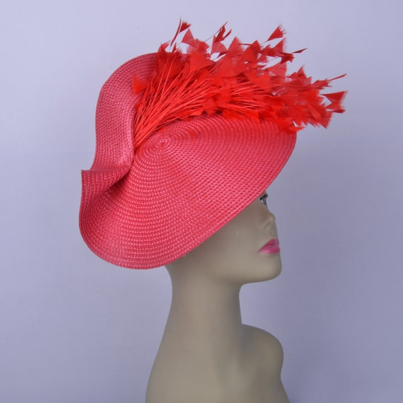 Fancy Hat Race Hat Tea Party Hat Black Saucer Fasinator Bridal Hat Large Black and Hot Pink Fascinator Saucer Kentucky Derby Hat