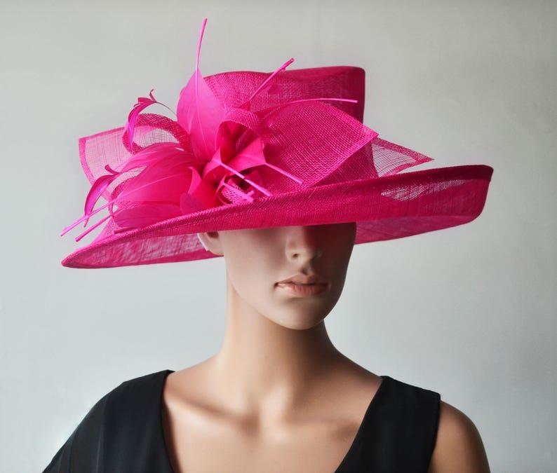 4ca46d3ee47 Fuchsia Hot pink sinamay hat large dress church hat fascinator