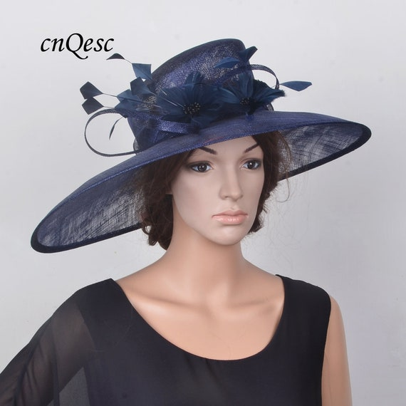 1ad20960abde2 Navy blue X large sinamay hat Derby hat church hat wedding hat