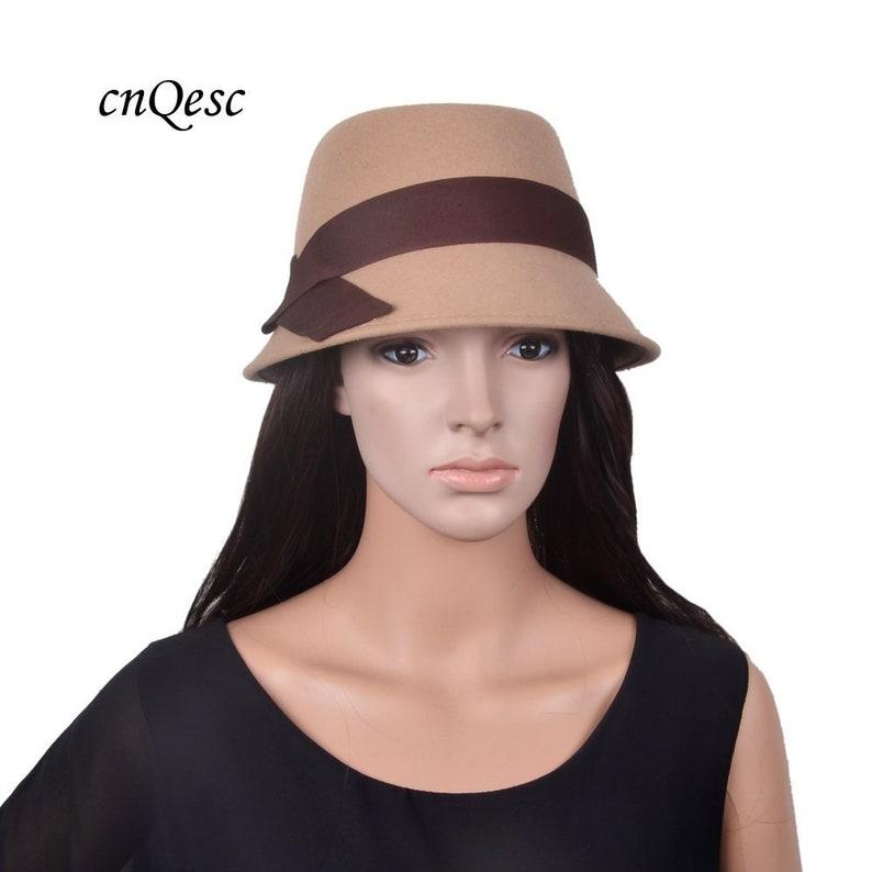 cc8b3a791b2a6f SALE Exclusive design NEW Camel brown Khaki 100% wool felt hat   Etsy
