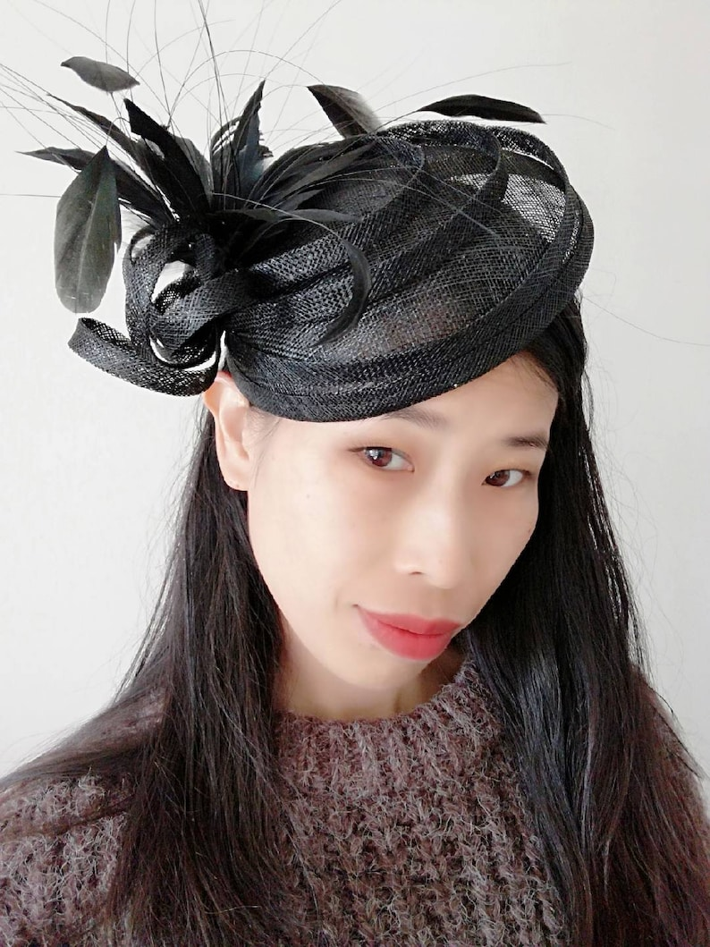 846e39a56df New black fascinator Kentucky Derby hat top hat with Sinamay