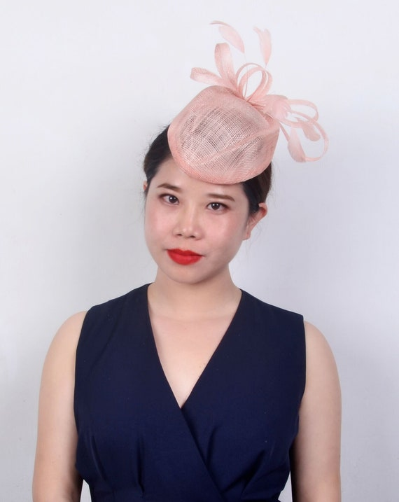 2019 one off designnude pink peach sinamay hostess hat top  04dba72874b0